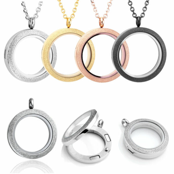 Stainless Steel Floating Charms Magnetic Locket Pendant Necklace Gift US