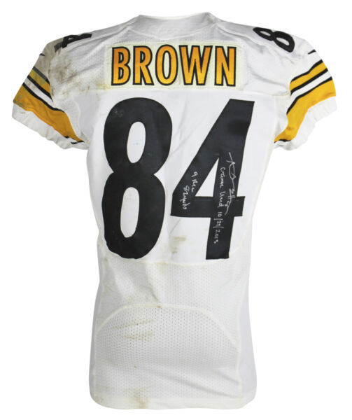 Steelers Antonio Brown Signed 10272013 Game Used Nike White Home Jersey
