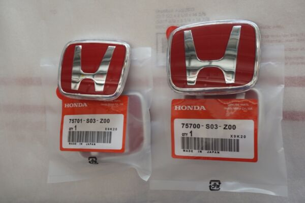 96-00 Honda Civic EK JDM RED H Type R - Front Rear Emblem 2PCS Set 92-95 Accord