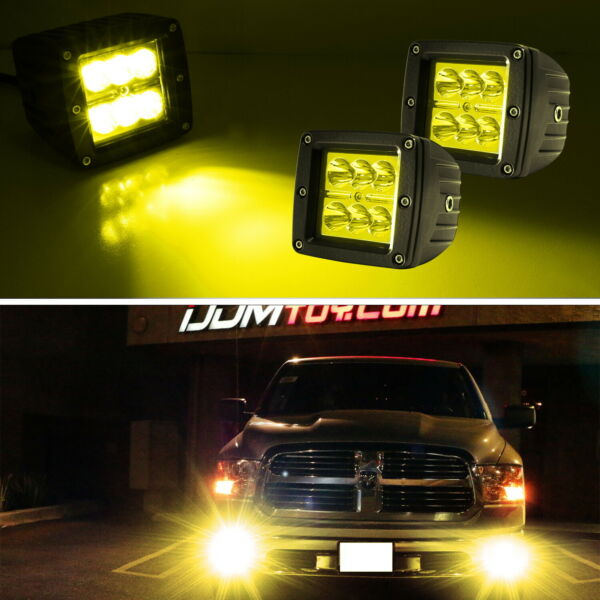 Yellow Lens 2x3 3quot; 24W High Power CREE LED Cubic Pod Lights For Truck Jeep ATV