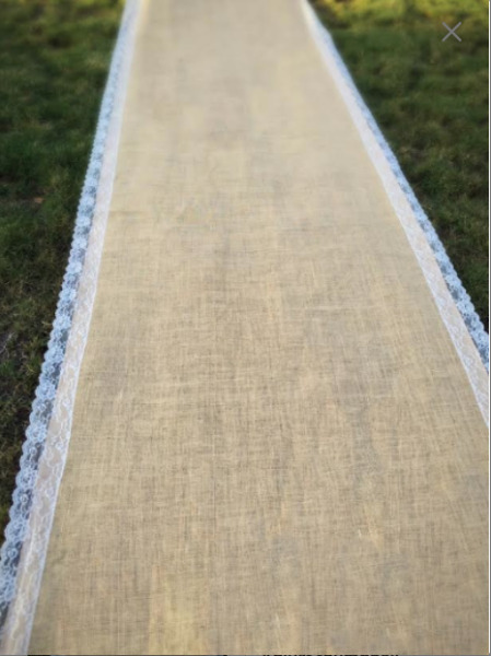 Burlap with Ivory Lace Aisle Runner Wedding Aisle Runner Isle Runner Beach Boho