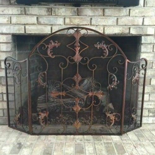 Wrought Iron Arch Fireplace Screen 3 Panel Folding Scrollwork Rust Brown Finish