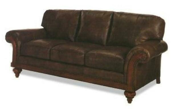 NEW LEATHER SOFA  WOOD  TOP GRAIN LEATHER UPHOLSTERY  SCROLL ARMS