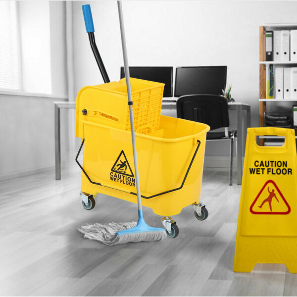 Mini Mop Bucket wWringer Combo 5 Gallon Commercial Rolling Cleaning Cart Yellow