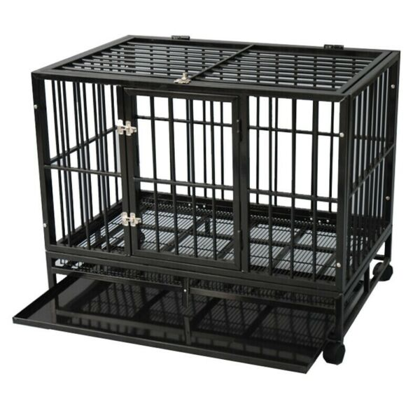 Dog Crate Large Kennel Cage Heavy Duty Metal Playpen WWheels & Tray 36
