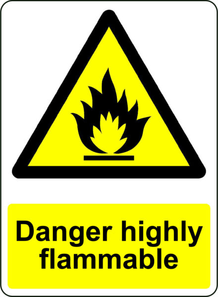 WARNING DANGER HIGHLY FLAMMABLE OSHA DECAL SAFETY SIGN STICKER 3M US MADE