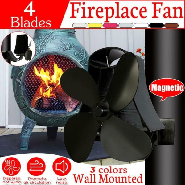 2-4 Blades Fireplace Fan Low Noise Wall Mounted Stove Thermal Heat Self-Power