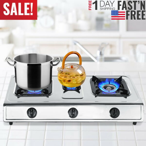 2 In 1 Stainless 3 Burner Propane Gas Stove InOutdoor Camping Cooking Cooktop