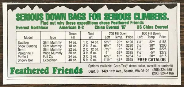 1988 Feathered Friends Seattle WA Print Ad Serious Down Bags for Serious Climber $7.59
