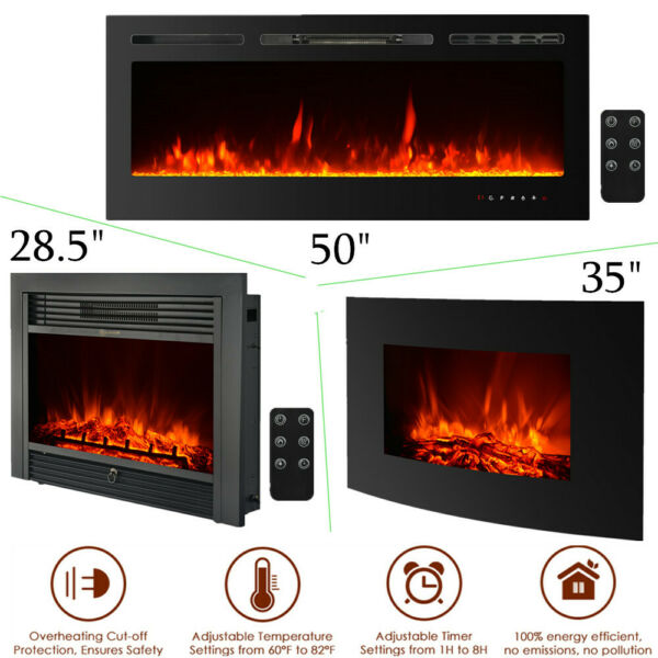 Electric Wall Mount Fireplace 3D Flame 6Setting adjustable timer Multicolor W9N2