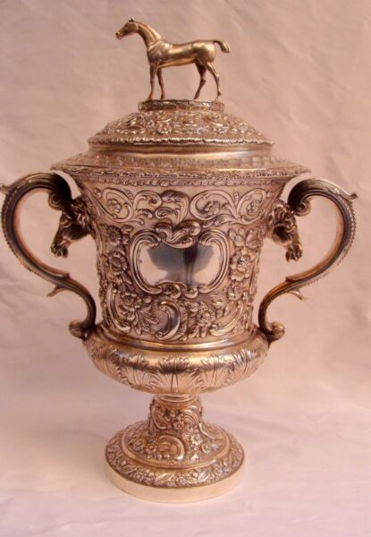 MAGNIFICENT ENGLISH GEORGIAN 1827 STERLING SILVER COVERED URN WITH HORSES