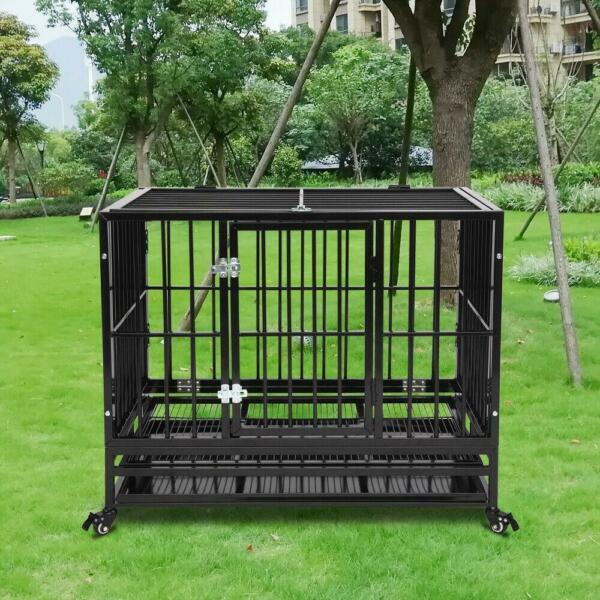 36quot; Heavy Duty Dog Cage Crate Kennel Metal Pet Playpen Portable with Tray Black