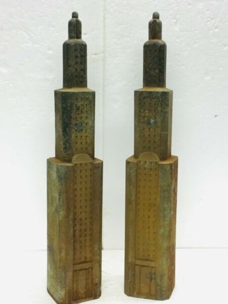 Vintage Andirons Art Deco Skyscraper Empire State Building Gotham City Cast Iron