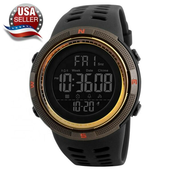 Men#x27;s Sport Army Military Alarm Calendar Dual 50M Waterproof Digital Wrist Watch