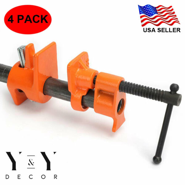 4 Pack 1 2quot; Wood Gluing Pipe Clamp Set Heavy Duty PRO Woodworking Cast Iron