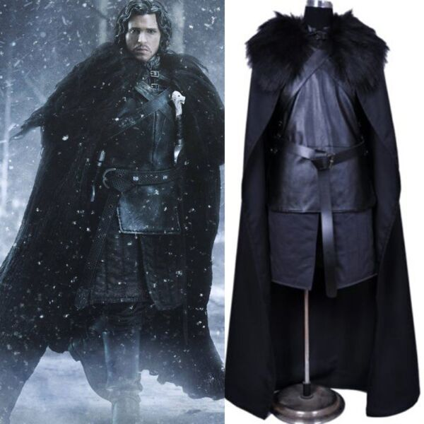Game of Thrones John Snow Men Cosplay Costume Halloween Outfit Fancy USA Stock