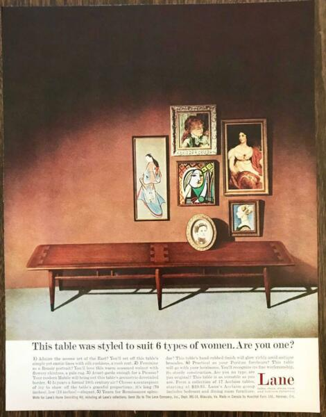 1960 Lane Furniture Print Ad Table Styled to Suit 6 Types of Women $10.75