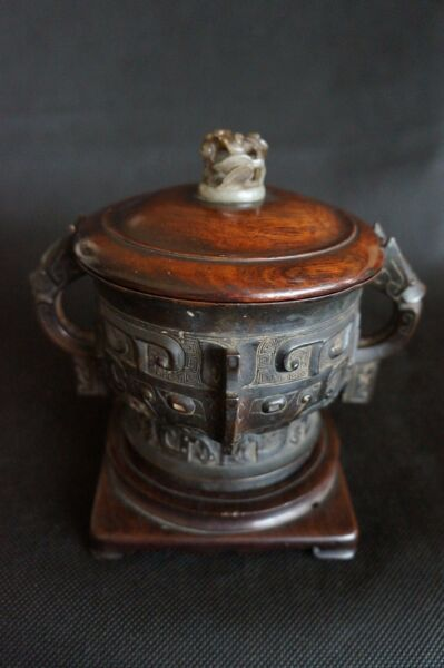 15 16th MING DYNASTIES Elaborately Carved Bronze Censer Jade Decorated Wood Cap $11700.00