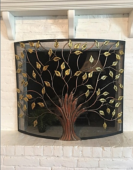 Metal Accent Curved Fireplace Screen Cover 1 Panel Tree Branches Black Bronze
