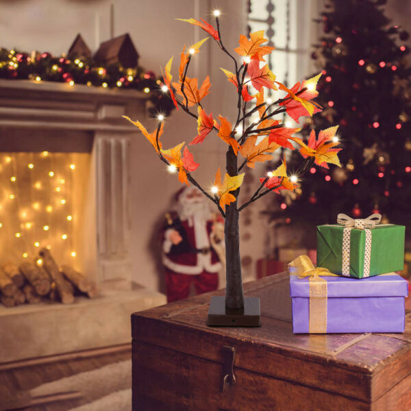 Thanksgiving Harvest Maple Leaves Lighted Fall Garland 34 LED Decoration Holiday