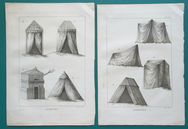 ROMAN ARMY amp; Barbarian Military Tents 2 Two 1804 Copperplate Prints
