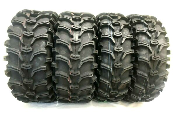 (2) New 25x8-12 & (2) New 25x10-12 Grizzly 6-Ply ATV UTV Tire Set FOUR New Tires