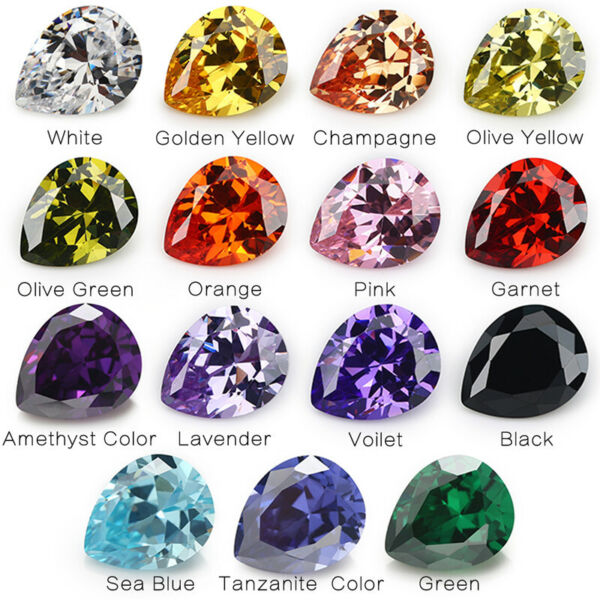 3x5~13x18mm White Red Yellow 10colors Pear cz stone cubic zirconia gemstone
