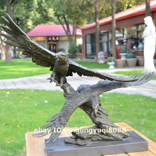 Western art deco Pure Bronze Marble Two Hawk Eagle falcon Bird Animal Sculpture