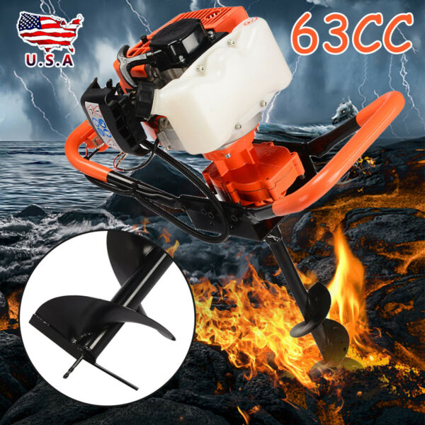 63cc 3HP Earth Auger Post Hole Borer Ground Drill 2 Person Machine +3 Bits US