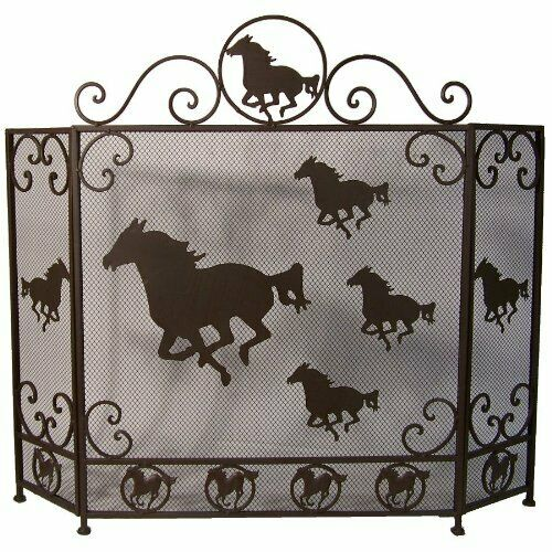 Free Running Horses Rustic Metal Fireplace Screen Western Country Style