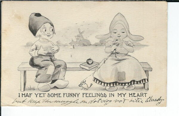AX-266 - Funny Feelings Artist Signed by Wall 1907-1915 Golden Age Postcard