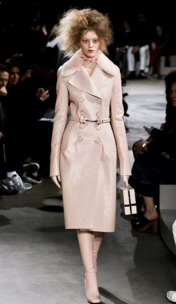 Runway - Fab Alexander McQueen faux leather coat with natural mink collar UK12