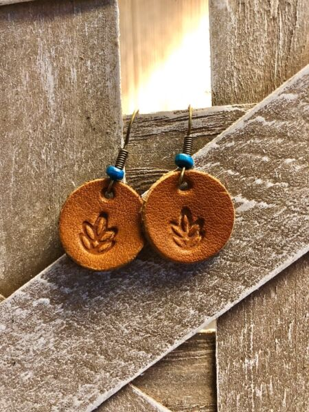 Leather Earrings. handcrafted boho gypsy leaf with turquoise natural lifestyle