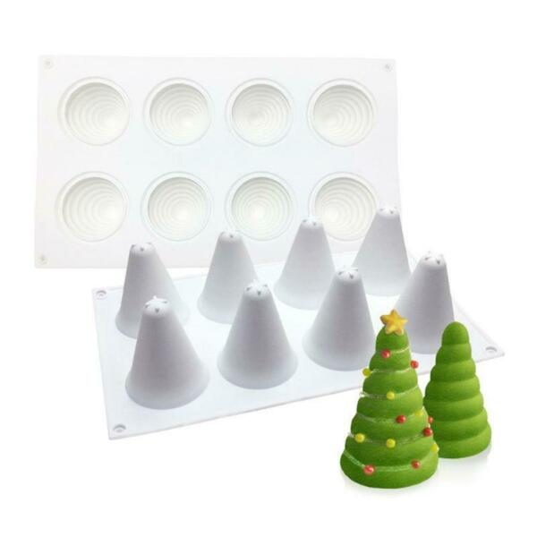 Christmas Tree Mousse Cake Mold 3D Baking Chocolate Bakeware 8 Cavity Maker