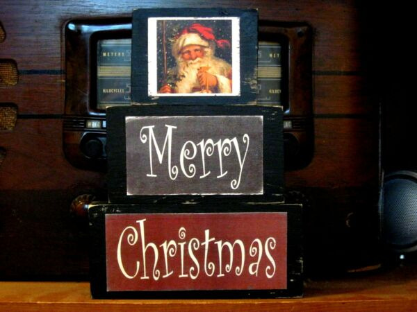 Merry Christmas With Santa Farmhouse Primitive Rustic Stacking Blocks Sign Set