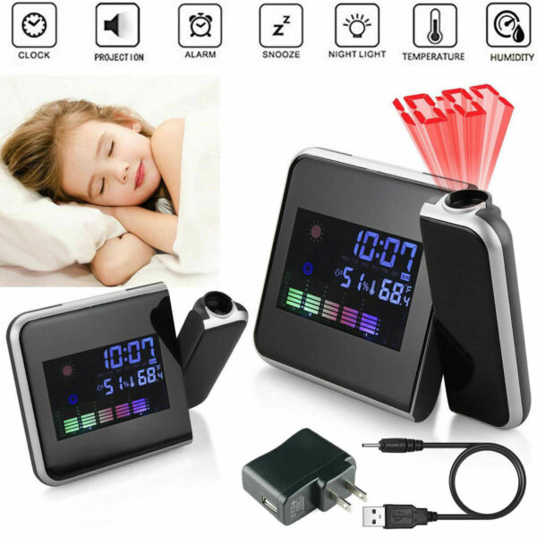 LED Digital Alarm Clock Projection LCD Display With Temperature Weather Station