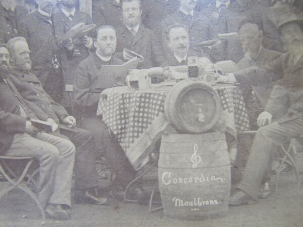 Antique 19c Photograph Gentlemen Drinking Beer Keg Brewery Concordia Maulbronn