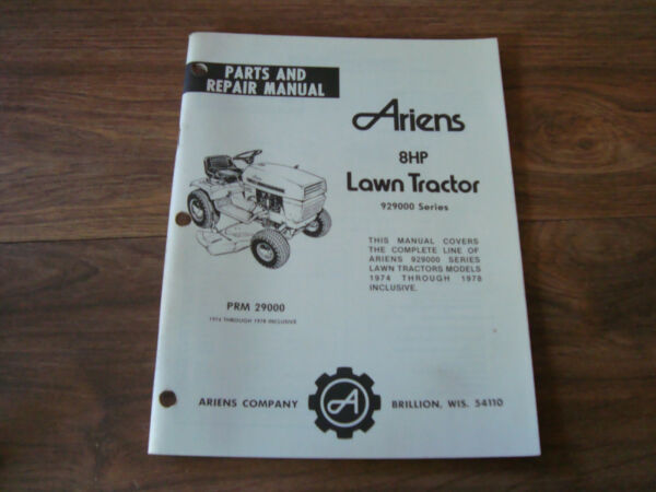 Ariens Parts amp; Repair Manual 8HP Lawn Tractor 929000 Series PWI