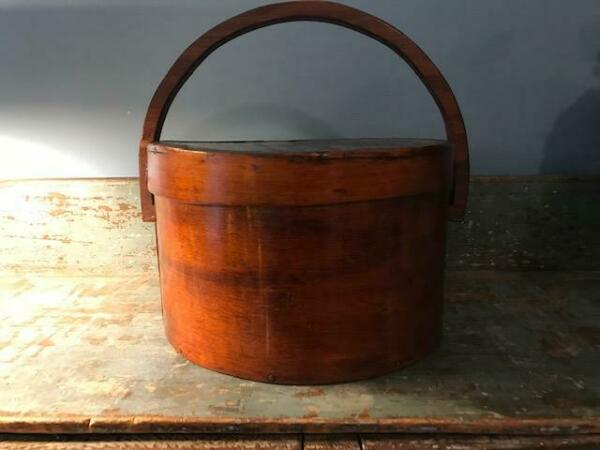 Antique Primitive Pantry Box Wood Handle Pumpkin Patina Thick Walls 13quot; aafa
