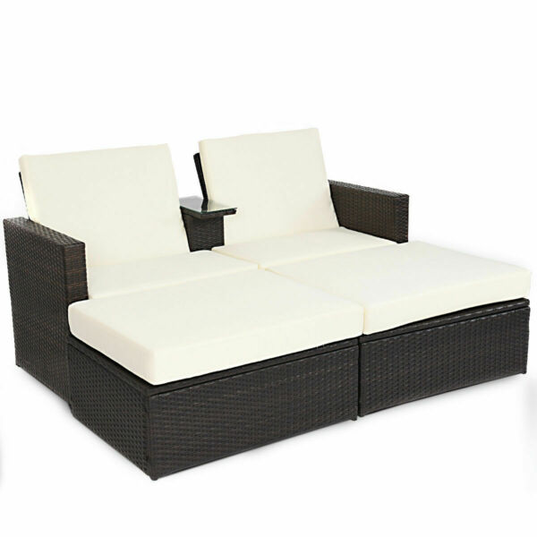 Double Lying Bed Chaise Lounge Chair Set Garden Rattan Wicker Outdoor Love Seat