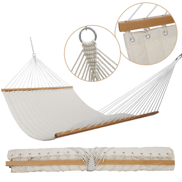 55quot; Double Quilted Fabric Swing 2 Person Hammocks Hardwood Spreader Bar w Pillow $39.99