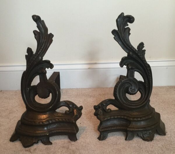 Antique Pair French Bronze Brass Rococo Fireplace Andirons Chenets Fire Dogs 14