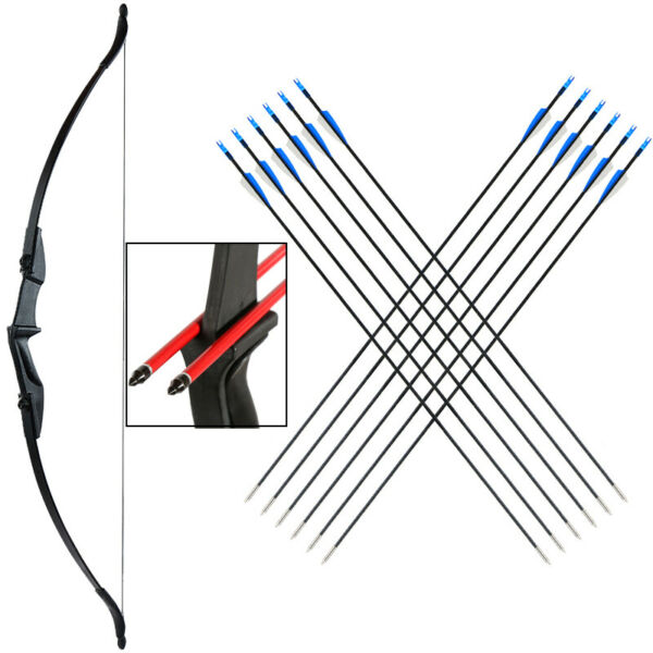 20 30 40lbs Hunting Takedown Recurve Bow amp; Arrows Set Ambidextrous 57quot; Longbow