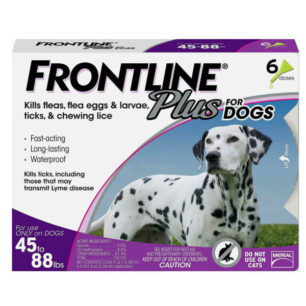 6 doses FRONTLINE PLUS for Dogs (45-88 lbs)  Flea and Tick Treatment Control