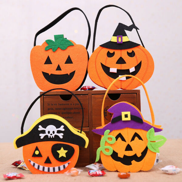 1xCartoon Cloth Pumpkin Tote Bag Ghost Festival Children's Candy Gift Case Decor