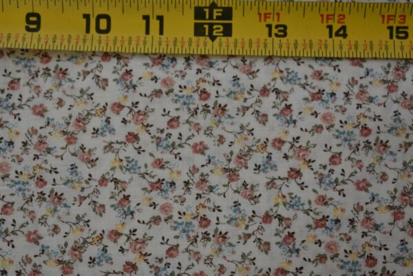 By 12 Yd Vintage Pink Blue & Yellow Calico on Cream Quilt Cotton B1235