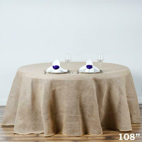 108 Inch ROUND Natural Brown Burlap Tablecloth Wedding Birthday Party Linens