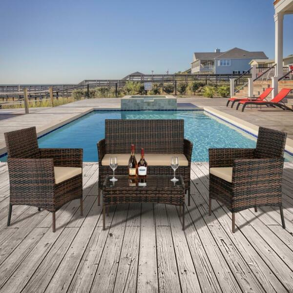4 PCS Outdoor Patio Rattan Wicker Sofa Sectional Furniture Set Cushioned Lawn $169.99