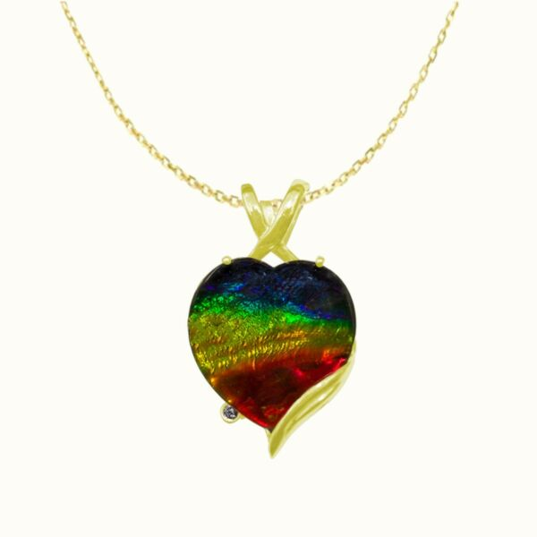 Ammolite Necklace Pendant in 14K Gold with Certificate!! Natural AAA  Ammolite