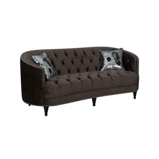 CURVY CHOCOLATE BROWN VELVET RHINESTONE TUFTED SOFA COUCH LIVING ROOM FURNITURE  $799.00